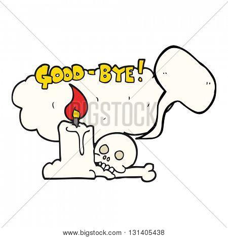 freehand drawn speech bubble cartoon goodbye sign