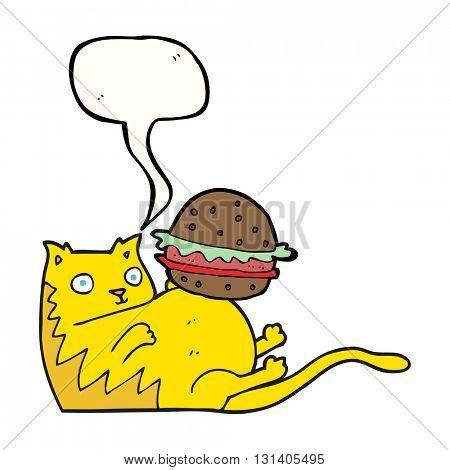 freehand drawn speech bubble cartoon fat cat with burger