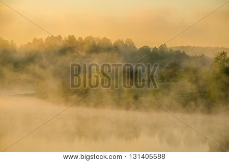 fog over the water. Thick morning mist over the lake. around the lake grow birch. landscape early in the morning warm. the sun rises and lights up the forest with a pond in the fog.