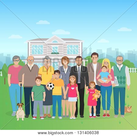 Color flat illustration big family together in the yard with cat and dog vector illustration