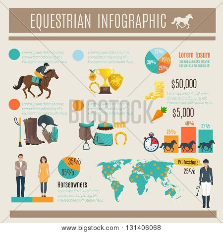 Color decorative infographic about equestrian horce race and jockey vector illustration
