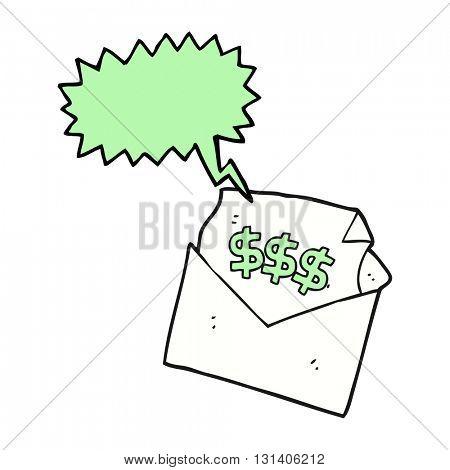 freehand drawn speech bubble cartoon bill letter