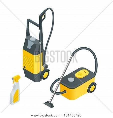 Car wash tools.Car wash full automatic service facilities with touch less equipment. Flat 3d vector isometric illustration.