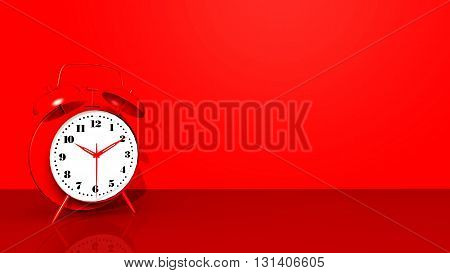 Computer generated 3D illustration with a red alarm clock against a red background