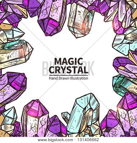 Crystals Sketch Concept. Crystals Decorative Objects. Crystals Vector Illustration. Crystals Hand Drawn Set. Crystals Design Symbols.