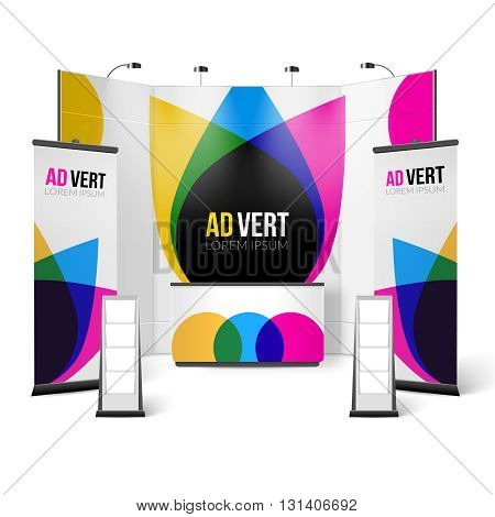 Exhibition Stand Color Design. Exhibition Stand Template. Exhibition Stand Realistic Vector Illustration. Exhibition And Show Stand Elements.