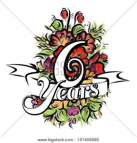 6 Years Greeting Card Design