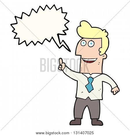 freehand drawn speech bubble cartoon businessman pointing