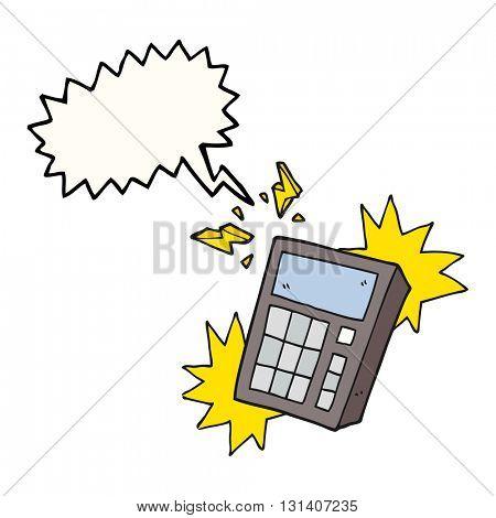 freehand drawn speech bubble cartoon calculator