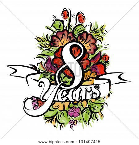 8 Years Greeting Card Design