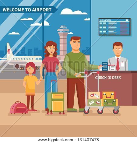 Airport work poster family at check in desk with his luggage before boarding a plane vector illustration