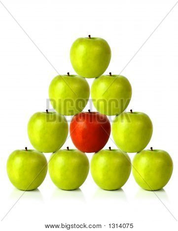 Green Apples On A Pyramid Shape - Be Different