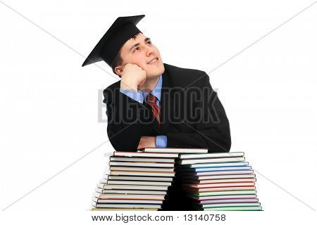 Portrait of a young man in an academic gown. Educational theme.