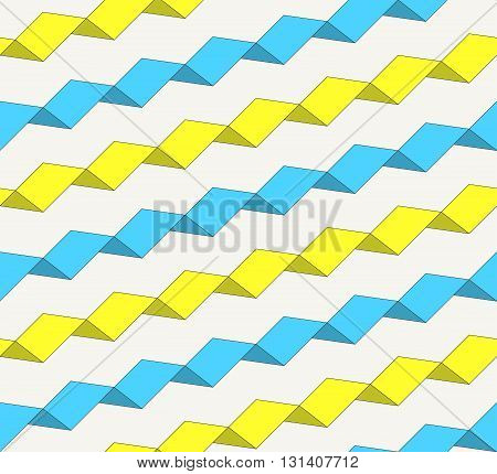 Colorful geometric seamless pattern. Modern ornament with irregular rectangles drawn up serpentine belt. Repeating background for textiles wrapping paper or wallpaper. Isolated vector illustration.