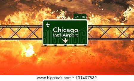 Passing Under Chicago Usa Airport Highway Sign In A Beautiful Cloudy Sunset