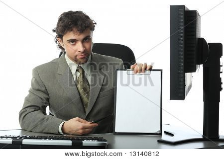 Business theme: handsome businessman in a work process.