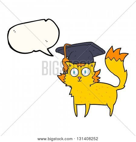 freehand drawn speech bubble cartoon cat graduate