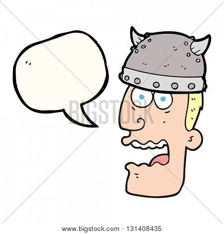 freehand drawn speech bubble cartoon screaming warrior man