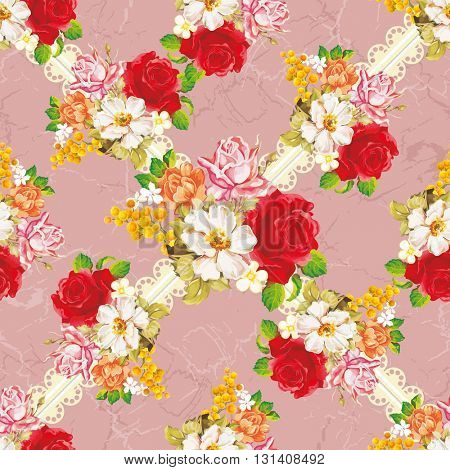 Seamless floral pattern with rose orange white flowers Vector Illustration EPS8