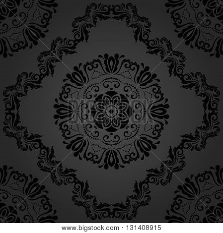 Oriental dark classic pattern. Seamless abstract background