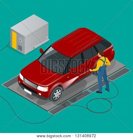 Car wash specialist in uniform washing off-road car. Spraying water from the hose. Flat 3d vector isometric illustration.