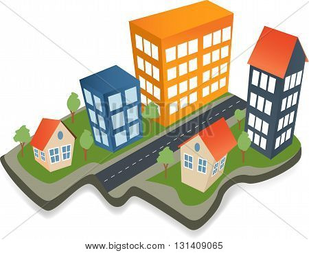Colorful real estate city icons Isometric icons city building structure trees Isometric town buildings.Real estate background template
