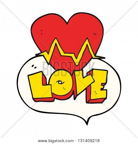 freehand drawn speech bubble cartoon heart rate pulse love symbol