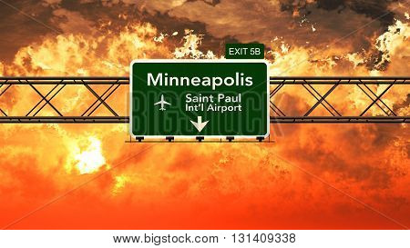 Passing Under Minneapolis Saint Paul Usa Airport Highway Sign In A Beautiful Cloudy Sunset