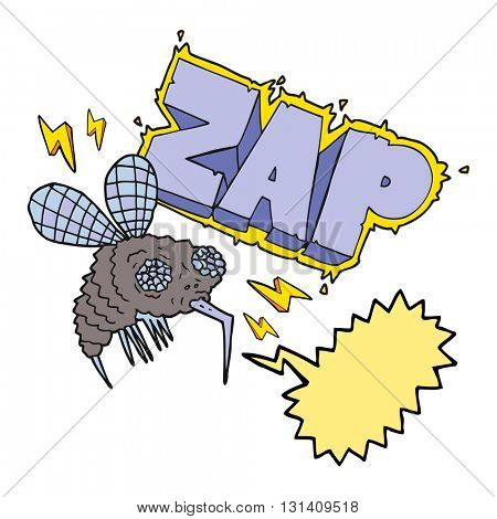 freehand drawn speech bubble cartoon fly zapped