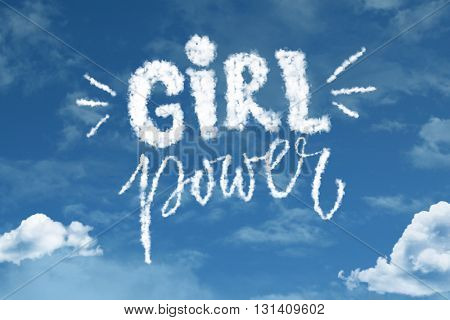 Girl Power cloud word with a blue sky