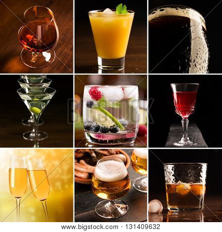 A collage of pictures of alcoholic beverages (dark background)