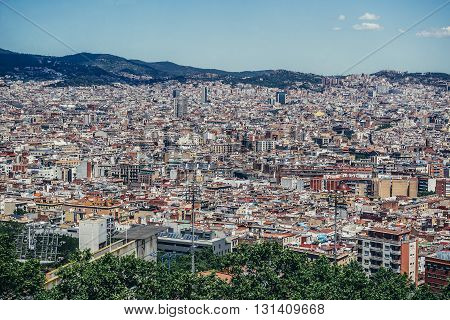 Aerial view from Jew Mountain - Montjuic hill in Barcelona Spain