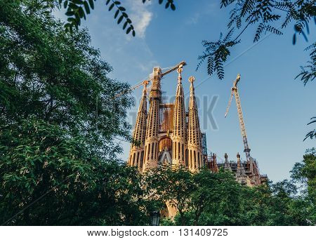Basilica and Expiatory Church of the Holy Family in Barcelona Spain