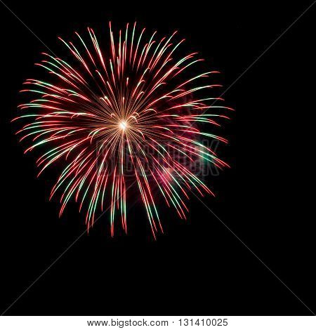 colorful of fireworks over dark sky background