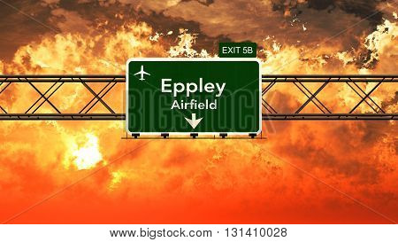 Passing Under Omaha Eppley Usa Airport Highway Sign In A Beautiful Cloudy Sunset