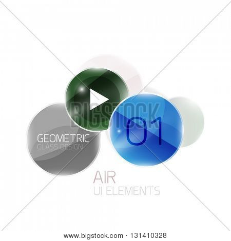 Abstract glass circles with sample text. Option info banner. Business diagram layout, air glossy futuristic template