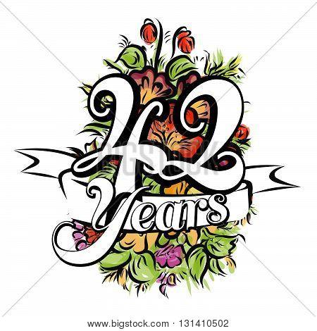 42 Years Greeting Card Design