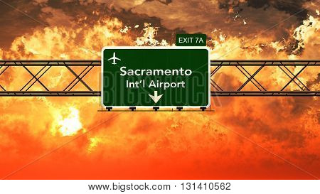 Passing Under Sacramento Usa Airport Highway Sign In A Beautiful Cloudy Sunset