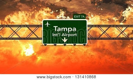 Passing Under Tampa Usa Airport Highway Sign In A Beautiful Cloudy Sunset