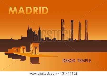Madrid city landmarks at night vector illustration. Debod egyptian temple.