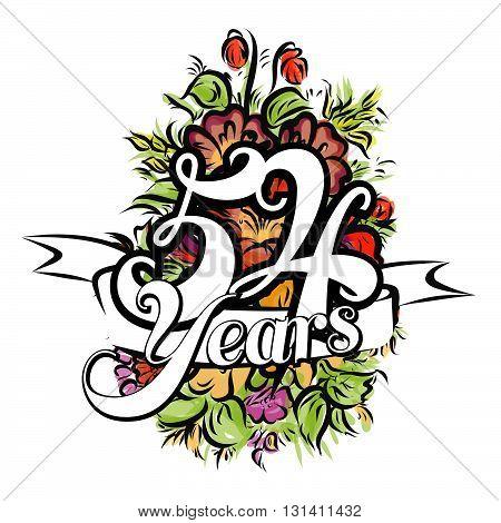 54 Years Greeting Card Design