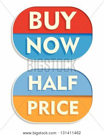 buy now and half price text banners, two elliptic flat design labels, business shopping concept, vector