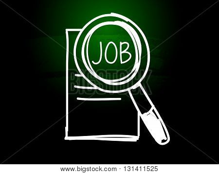 job and search sign - white chalk text with symbol over green blackboard, job seeking concept, vector