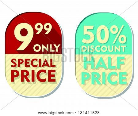 9,99 only, 50 percent discount, special and half price text banners, two elliptic flat design labels, business shopping concept, vector