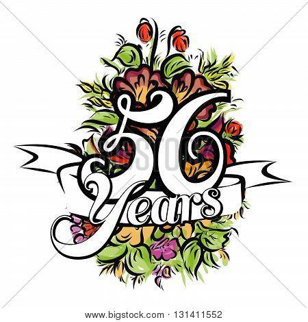 56 Years Greeting Card Design
