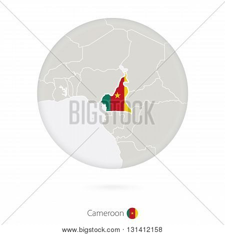 Map Of Cameroon And National Flag In A Circle.