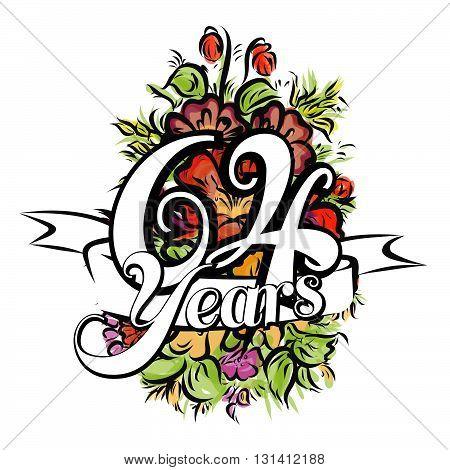 64 Years Greeting Card Design