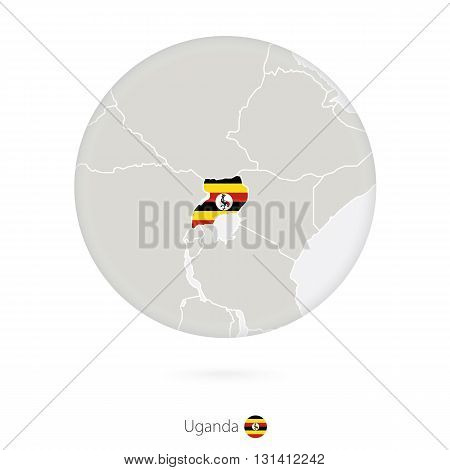 Map Of Uganda And National Flag In A Circle.