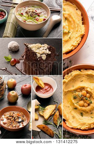 Collage of photos of natural foods (snacks desserts main dishes)
