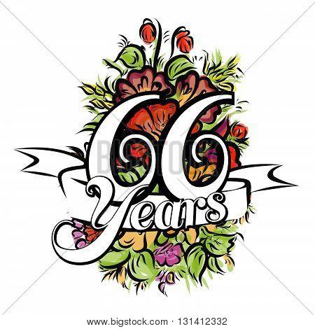 66 Years Greeting Card Design